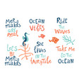 mermaid party hand drawn blue lettering set vector image vector image
