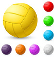 multicolored volleyball realiste on white vector image vector image