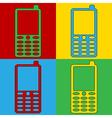 Pop art phone icons vector image