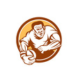 Rugby Player Running Ball Circle Linocut vector image vector image
