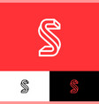 s letter monogram thin lines red vector image vector image