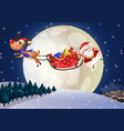 santa claus on a sleigh with deer at night vector image vector image