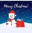 santa snowman at christmas night vector image vector image