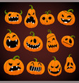 set halloween pumpkins with different faces vector image