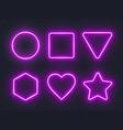 set pink glowing neon frames on dark background vector image vector image