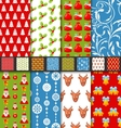 Set seamless christmas pattern santa stag toys vector image vector image