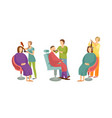 spa salon barber and hair stylist icons set vector image vector image