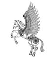 steampunk horse coloring on a white isolated vector image vector image