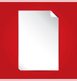 white paper on red background with copy space vector image vector image
