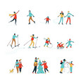 winter sport activities christmas decorating vector image
