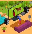 play video game and gamer girl isometric view vector image