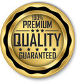 100 premium quality guaranteed gold label vector image vector image
