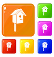 birdhouse icons set color vector image vector image
