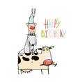 Birthday Funny Cartoon Farm Domestic Animals vector image
