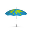 blue umbrella icon the drawing of the earth on vector image