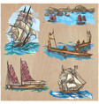 boats - an hand drawn colored pack line art vector image vector image