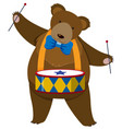 brown bear playing drum vector image vector image
