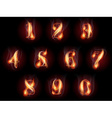 burning numbers set vector image