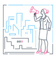 businesswoman with a megaphone - line design style vector image vector image