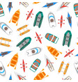cartoon color boats top view background pattern vector image vector image