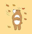 cartoon cute autumn bear feeling cold vector image vector image