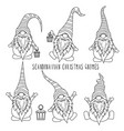 chrismas gnomes collection for coloring vector image vector image