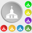 Church Icon sign Symbol on eight flat buttons vector image