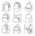 colored teenager school backpacks set vector image vector image
