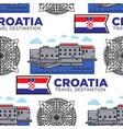 croatia travel destination seamless pattern vector image