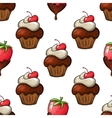 Cupcakes and strawberry seamless pattern vector image