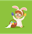 cute little boy with bunny ears and rabbit costume vector image vector image
