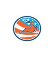 Deer Stag Buck Jumping USA Flag Circle vector image vector image