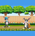 easter background with bunnies on the nature vector image vector image