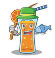 fishing cocktail character cartoon style vector image vector image