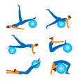 Fitnees icons with ball vector image vector image