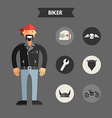 Flat Design of Biker with Icon Set Infographic vector image