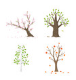 flat tree set isolated vector image
