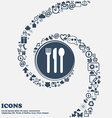 fork knife spoon icon sign in the center Around vector image vector image