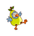 funny tropical bird dressed in pear costume vector image
