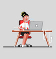 girl seeing something exsiting in her laptop vector image vector image