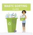 glass waste recycling - modern cartoon people vector image