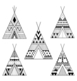 Hand drawn American native wigwams set with ethnic vector image vector image