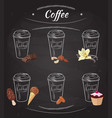 hand drawn coffee collection vector image vector image