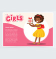 happy african girl holding gift box cute kid vector image vector image