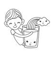 little boy with milk and rainbow kawaii character vector image
