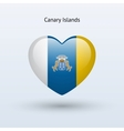 Love Canary Islands symbol Heart flag icon vector image