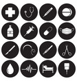 medical icons white on black circles vector image