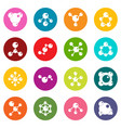 molecule icons many colors set vector image vector image