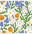 pansy daisy and tulip flower garden pattern vector image vector image