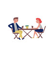 people sitting behind wooden table and laughing vector image